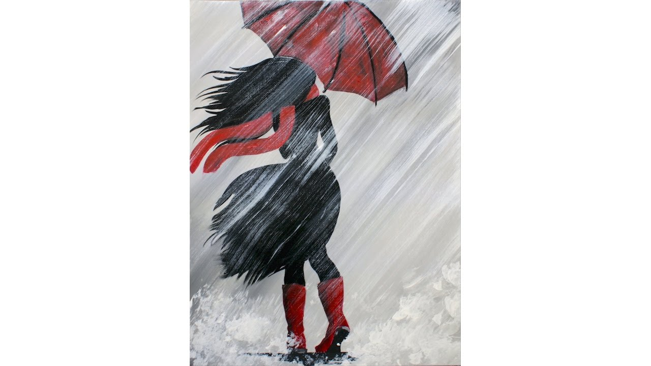 1280x720 A Girl Walking In The Rain Acrylic Painting On Canvas