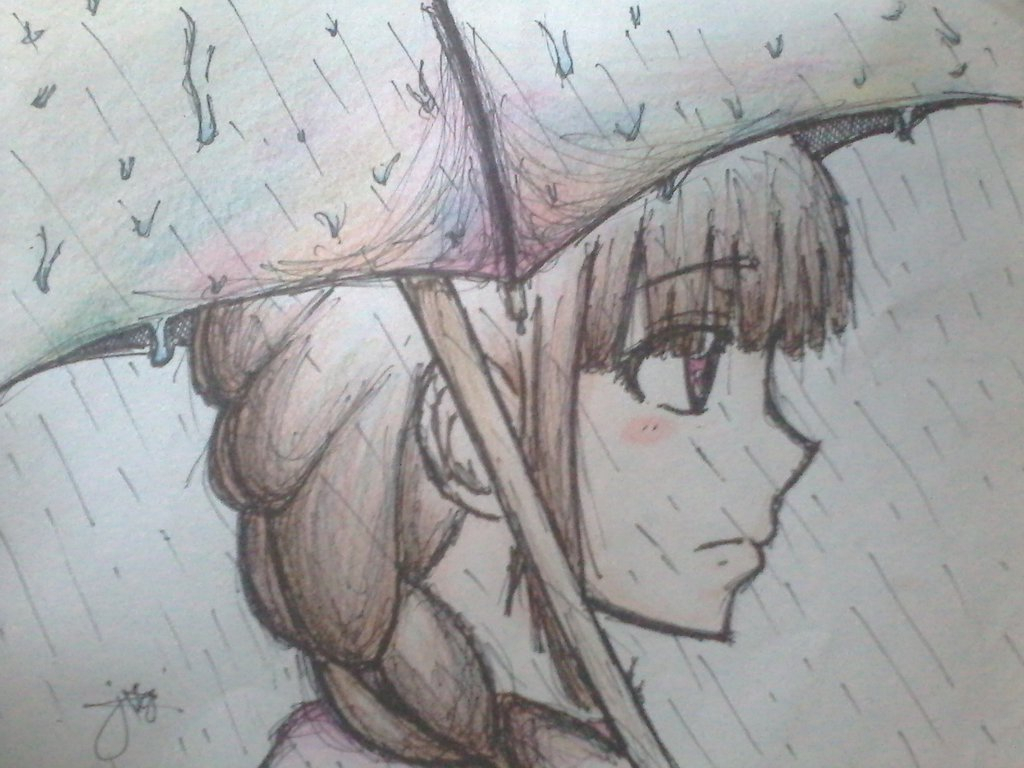 1024x768 Crying Girl Drawing In Rain Lonely Girl Under