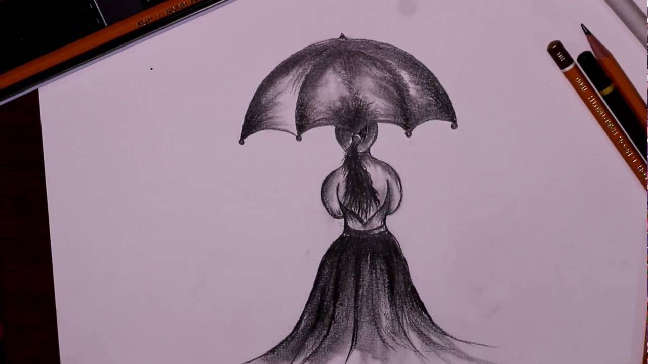 1280x720 Drawing Of A Girl In The Rain With An Umbrella Tutorial 3 How