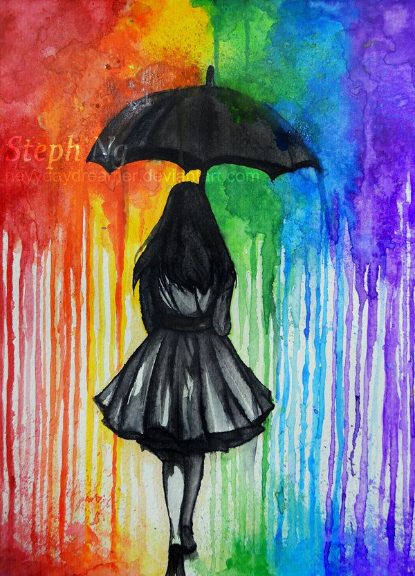 600x832 Gallery Lonely Girl In The Rain Drawing,