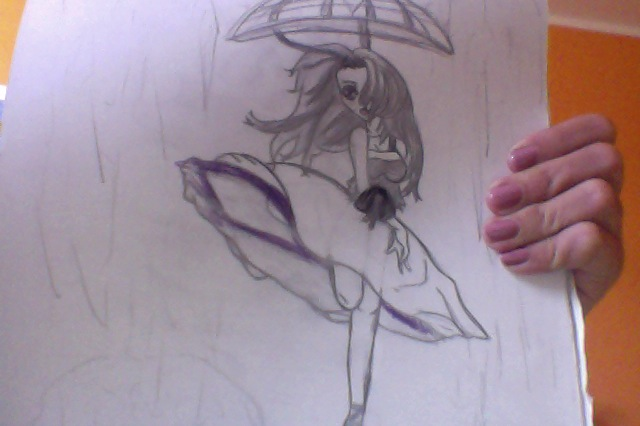 640x426 Girl Dancing In The Rain With Umbrella By Grimmycatlover