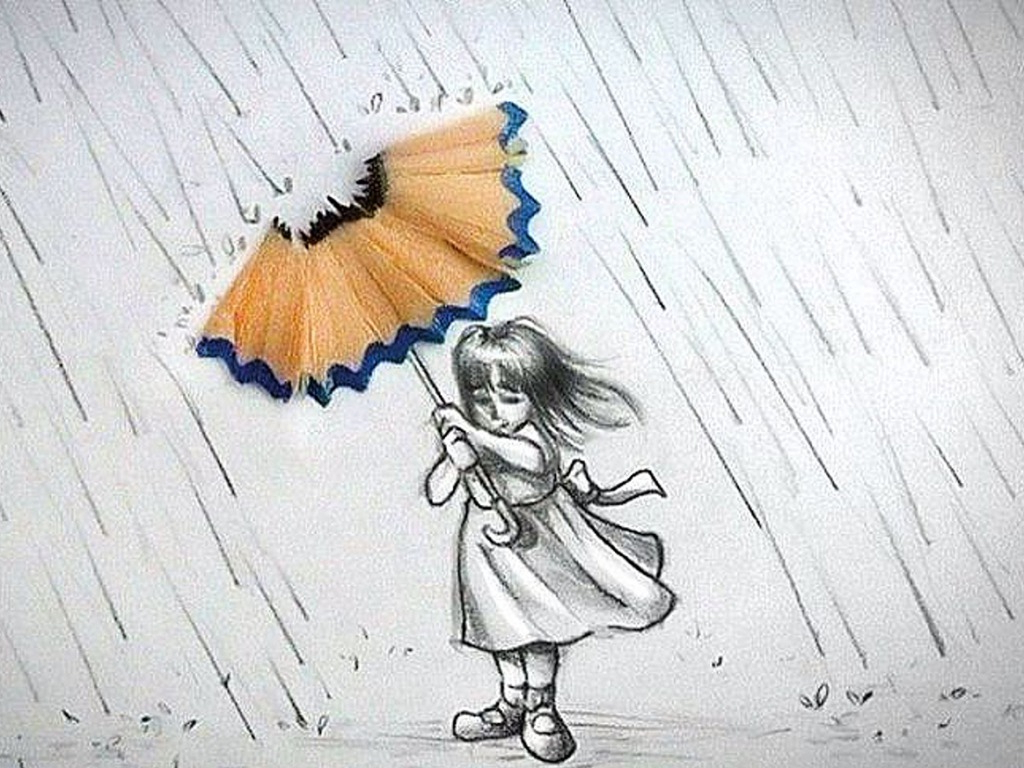 1024x768 Pencil Sketching Girl In Rain Rain With Girl Umbrella Pencil