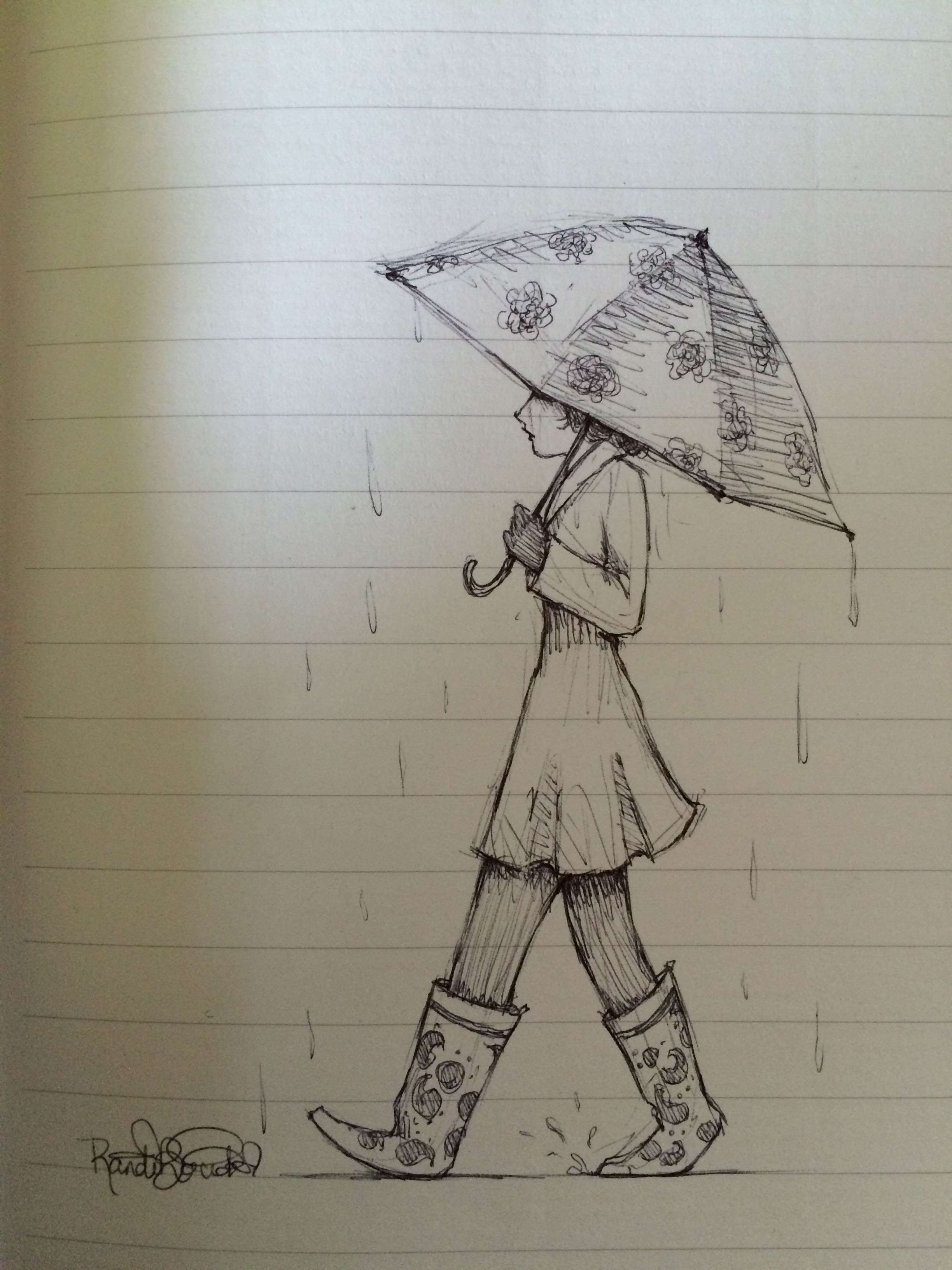 2448x3264 Rain With Girl Umbrella Pencil Drawing Rain Randilynnpedia