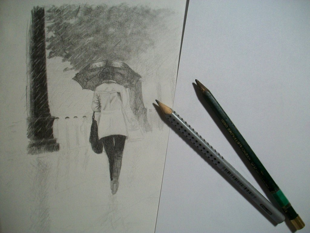 1024x768 Walk In The Rain Wip1 By Croatian Artist Girl