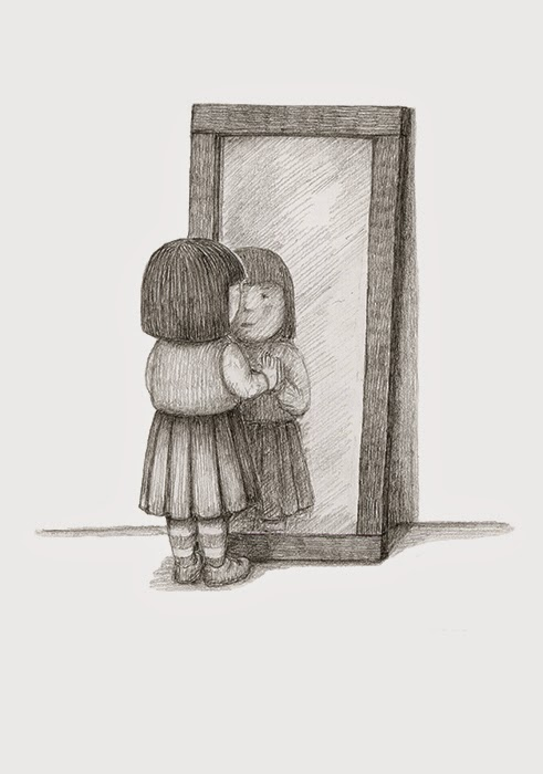 491x700 Girl Looking In Mirror Drawing
