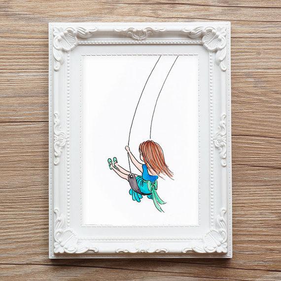 570x570 Girl Swinging On Swing Cute Girl Drawing For Girl's Room
