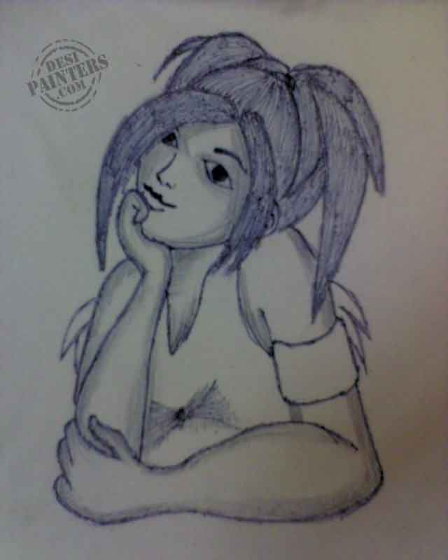 640x800 cute girl pencil sketch