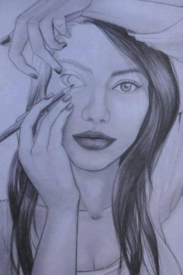 640x960 photos girl pencil drawing pic