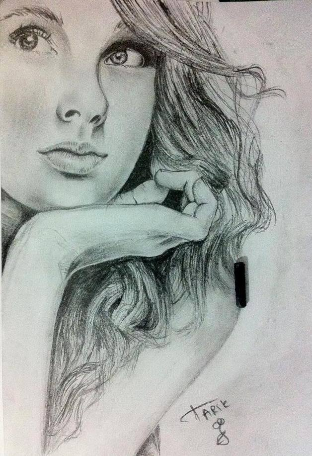 628x917 photos pencil sketch girl