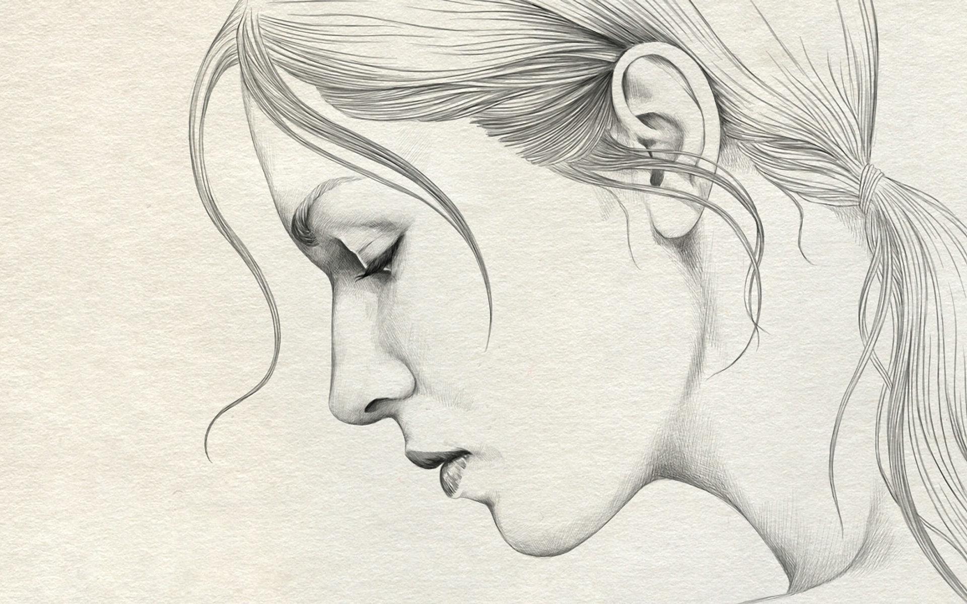 1920x1200 Girl Profile Drawing