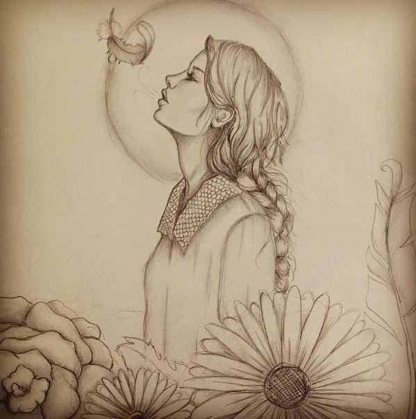 599x604 Girl Profile Drawing