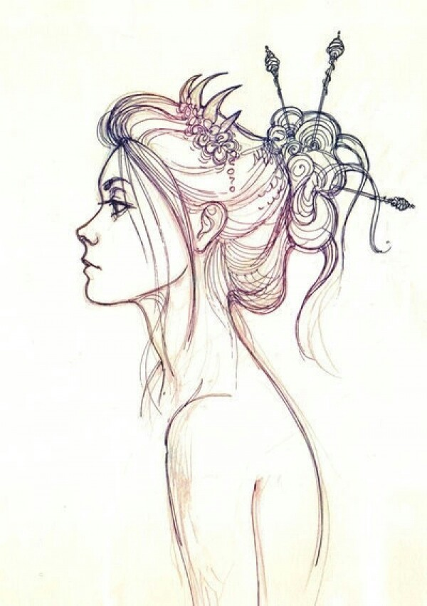 600x851 Woman Profile Art Profile, Character Illustration