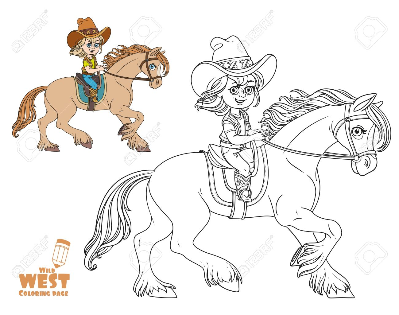 1300x1026 Cute Little Girl In A Cowboy Suit Riding A Horse Coloring Page