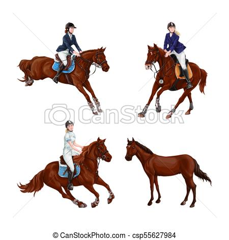 450x470 Woman, Girl Riding Horses Set, Isolated. Family Equestrian