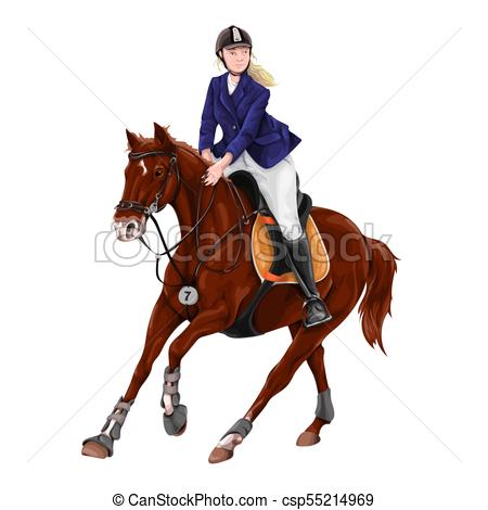 450x470 Woman, Girl Riding Horses Vector Illustration, Isolated . Clip