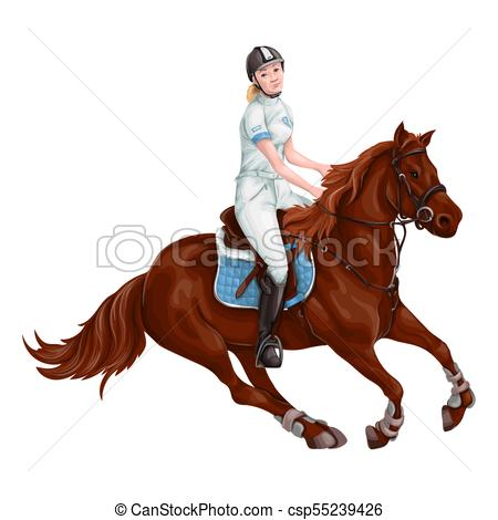 450x470 Woman, Girl Riding Horses Vector Illustration, Isolated . Vector