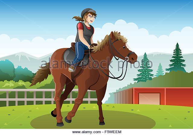 640x447 Woman Riding Horse Stock Vector Images