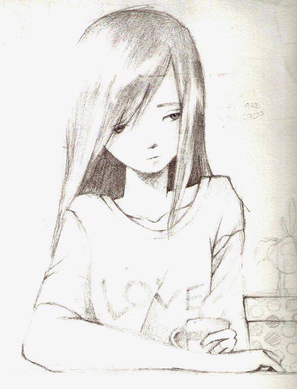 Anime Sketch Girl Sad