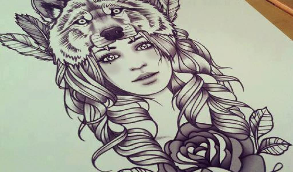 Lineart Wolf Tattoo : Girl tattoo drawing at getdrawings.com free for personal use