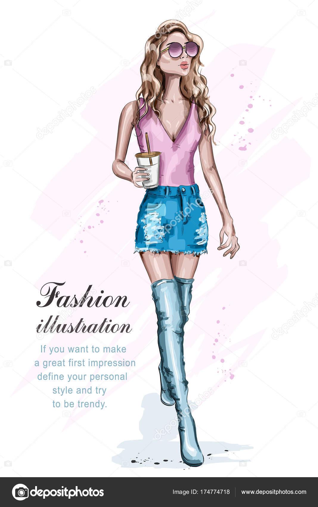 1067x1700 Beautiful Young Woman Fashion Clothes Full Body Portrait Posing