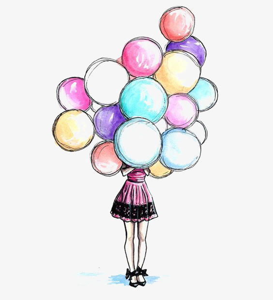 564x620 Cartoon Balloons, Drawing Balloons, Girl, Girls Png Image