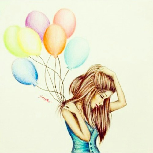 500x500 My Drawing Of A Balloon Girl On We Heart It