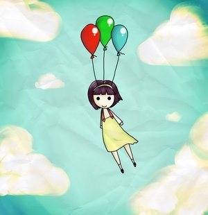 300x310 Art, Balloon, Drawing, Float, Girl, Illustration