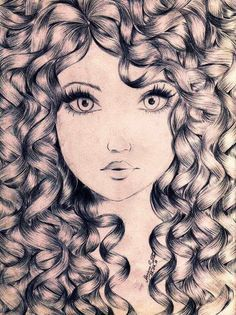 Girl With Curly Hair Drawing At Getdrawings Com Free For Personal