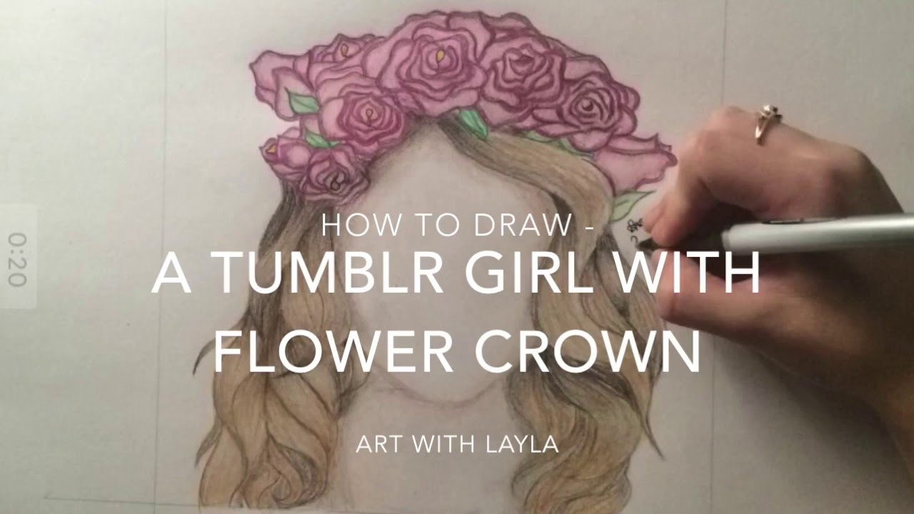 Girl with flower drawing at getdrawings free for personal use 1280x720 how to draw a tumblr girl with flower crown time lapse izmirmasajfo