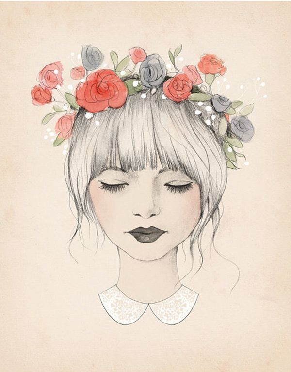 600x767 art dibujos drawing face flower girl hair â