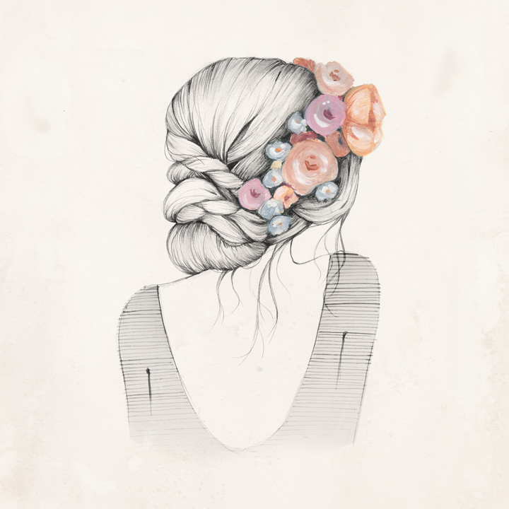 720x720 art drawing face flower girl hair