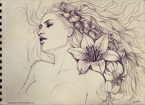 Girl With Flower Drawing at GetDrawings