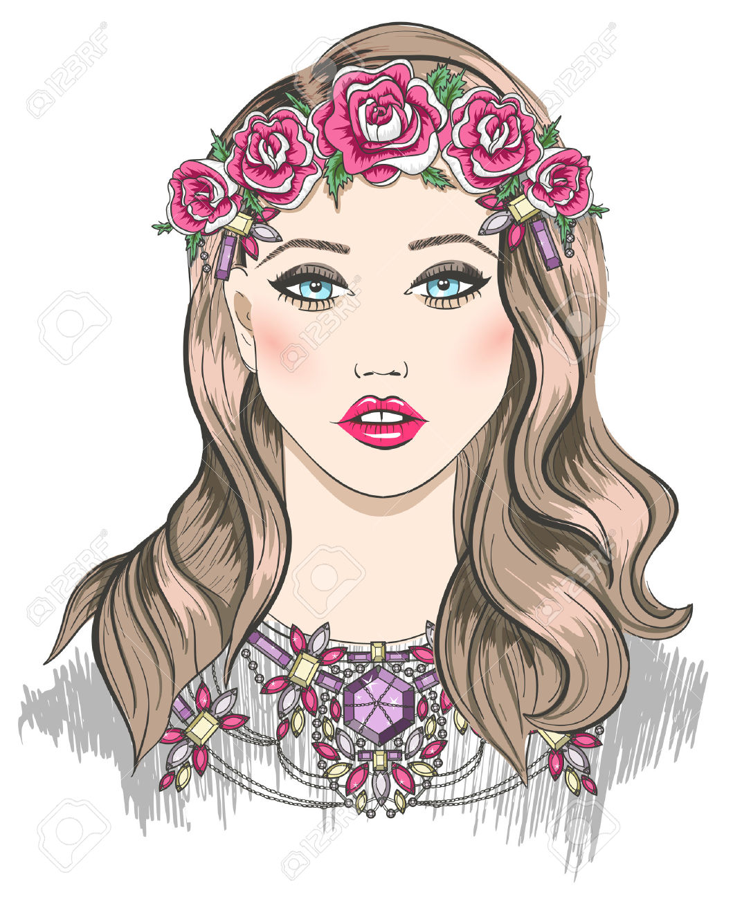 1072x1300 23764058 Young Girl Fashion Illustration Girl With Flowers In Her