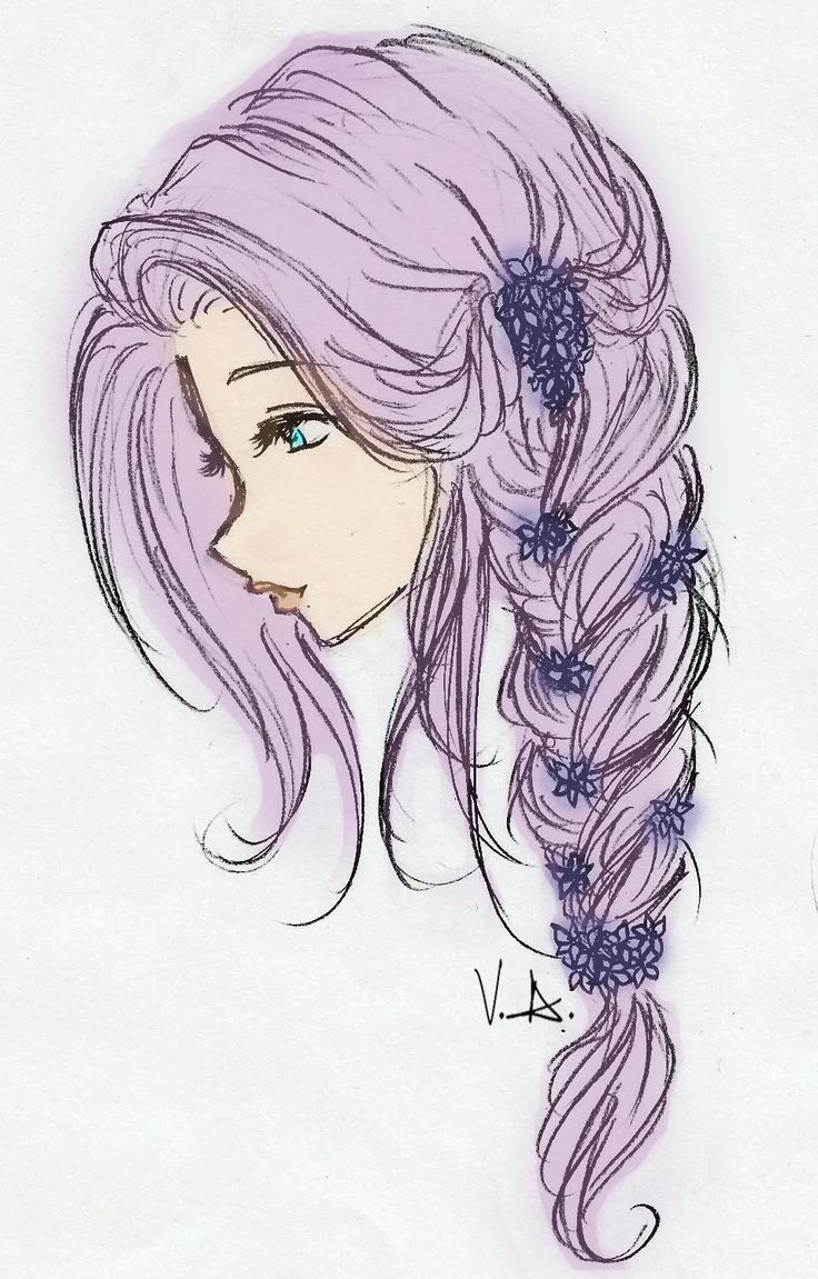 736x1151 Girl With Flowers In Her Hair Drawing Best Curly Hair Drawing