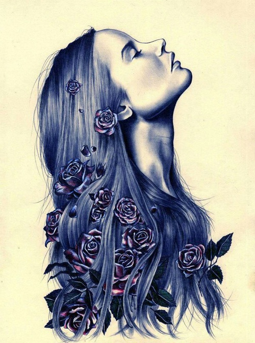 500x672 Girl With Flowers In Her Hair Drawing On We Heart It