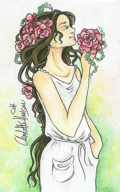 400x637 Girl With Flowers In Her Hair By Chhan