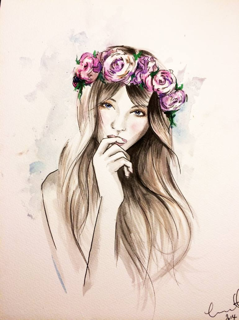 770x1027 Saatchi Art Flowers In Her Hair Drawing By Tanya Bennett