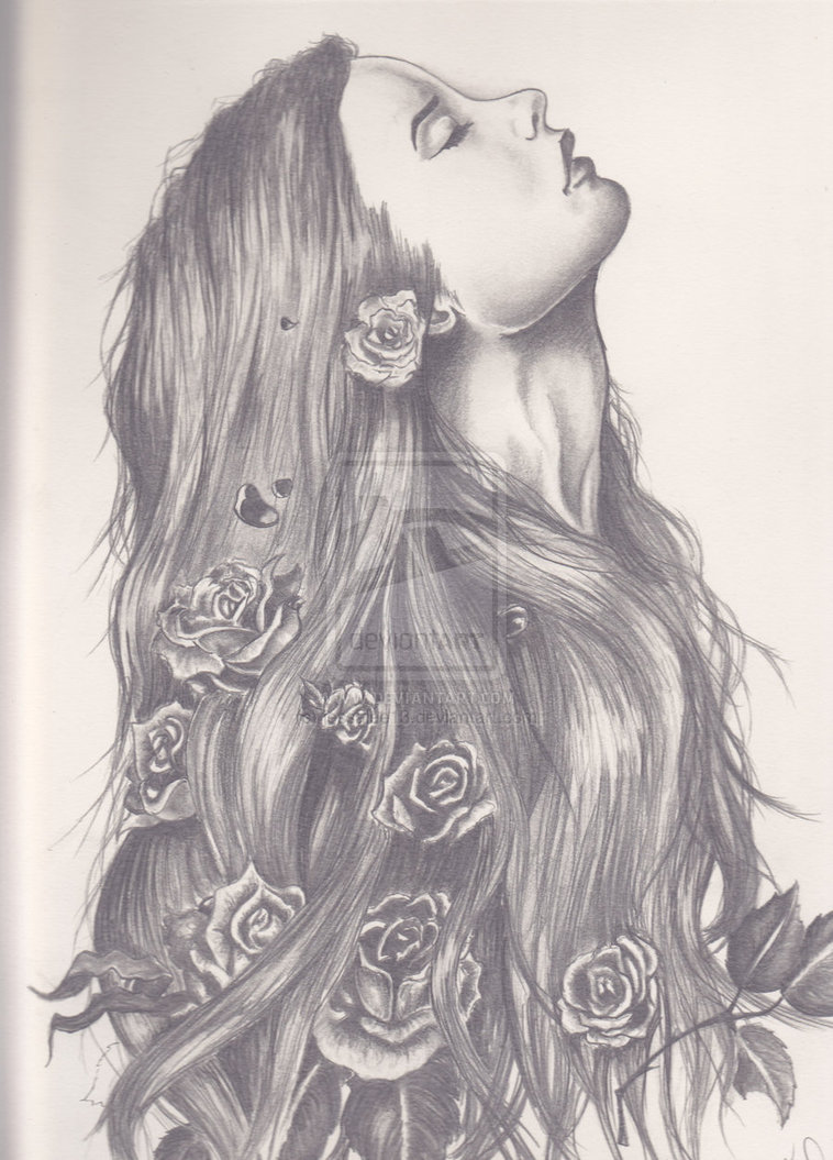 758x1055 With Flowers In Her Hair By ~jessalee13 On Inklings