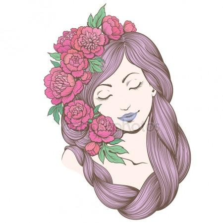 450x450 Woman With Flowers In Her Hair. Stock Vector Maljuk
