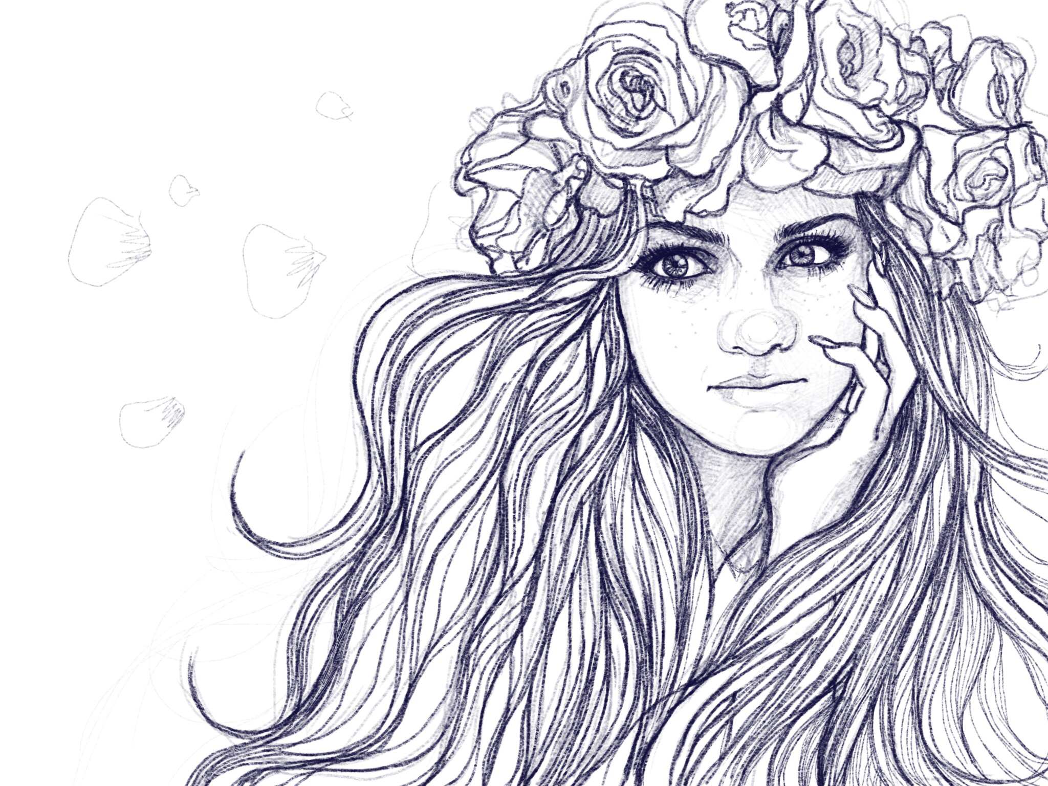 2048x1536 My Drawing Of Girl With Flowers In Her Blowed Hair, Www.qoolka Art