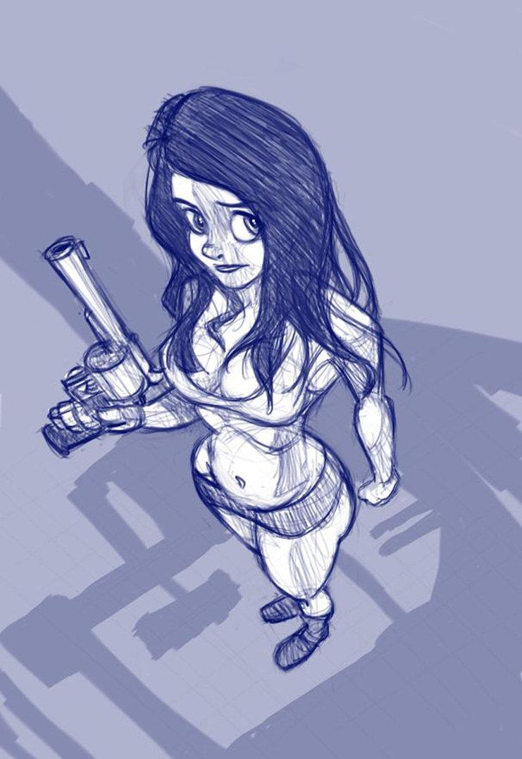 741x1078 Girl With Gun By Richtoon