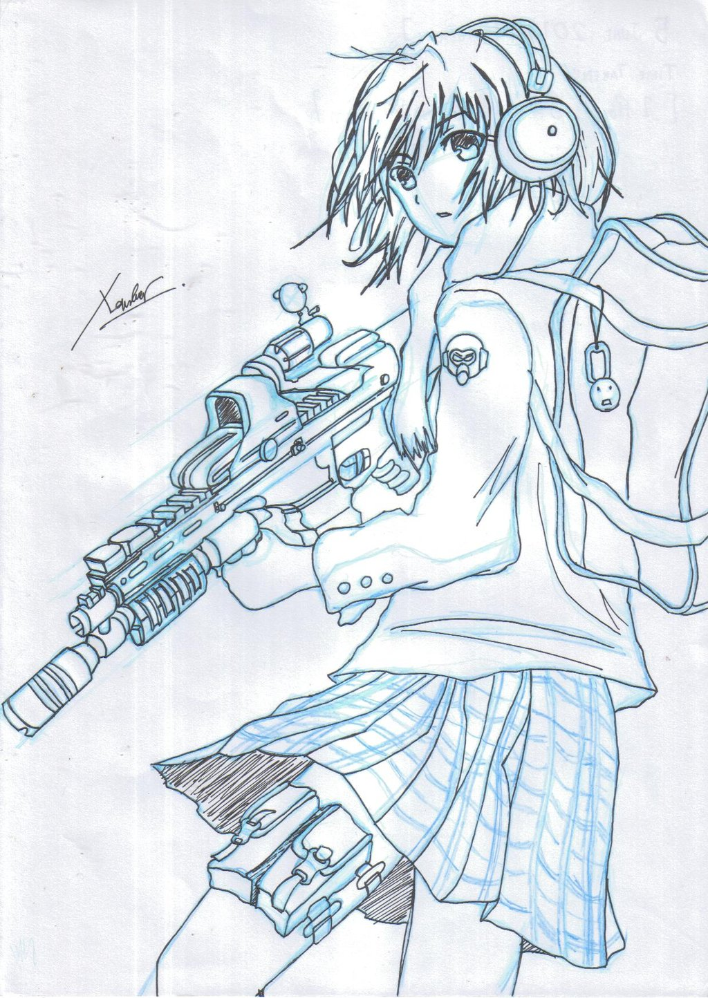 girl with gun drawing at getdrawings | free for personal use