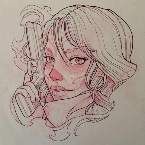 480x480 Image Result For Chicano Girl Gun Art Tatttts Tattoo