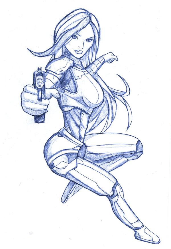 600x872 Armor Girl Gun Sketch By Gbrsou