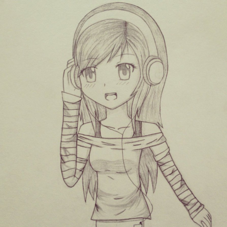 894x894 Anime Girl With Headphones Drawing Anime Girl With Headphones By