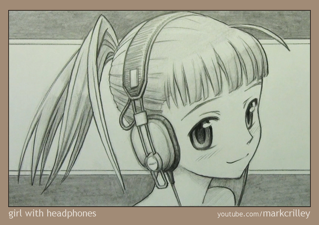 1063x751 Girl With Headphones By Markcrilley