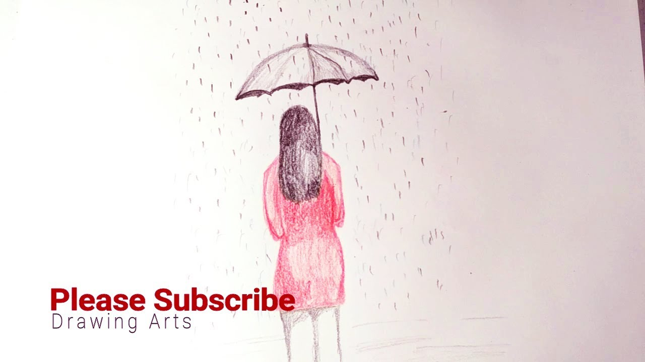 1280x720 How To Draw A Girl With Umbrella For Kids Drawing Arts