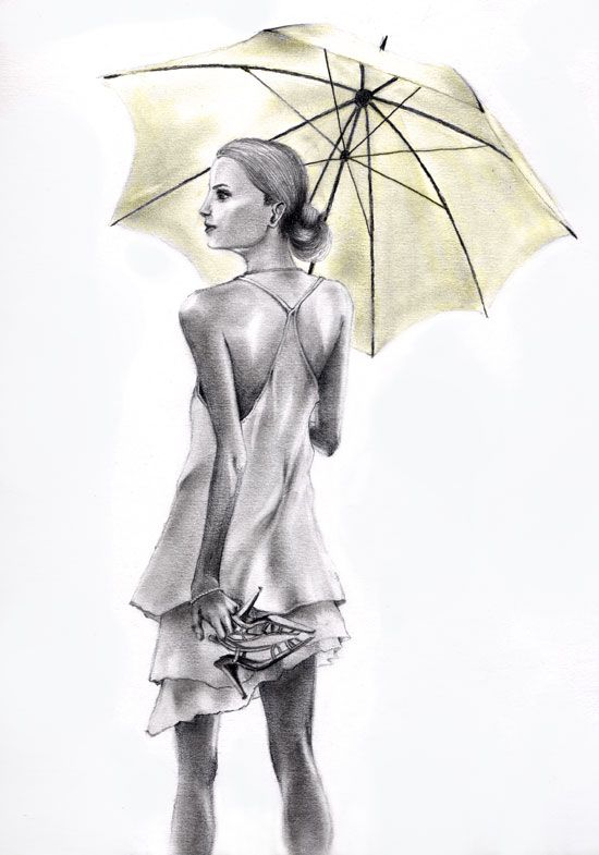 550x785 Pictures Pencil Drawing Of Girl With Umbrella,
