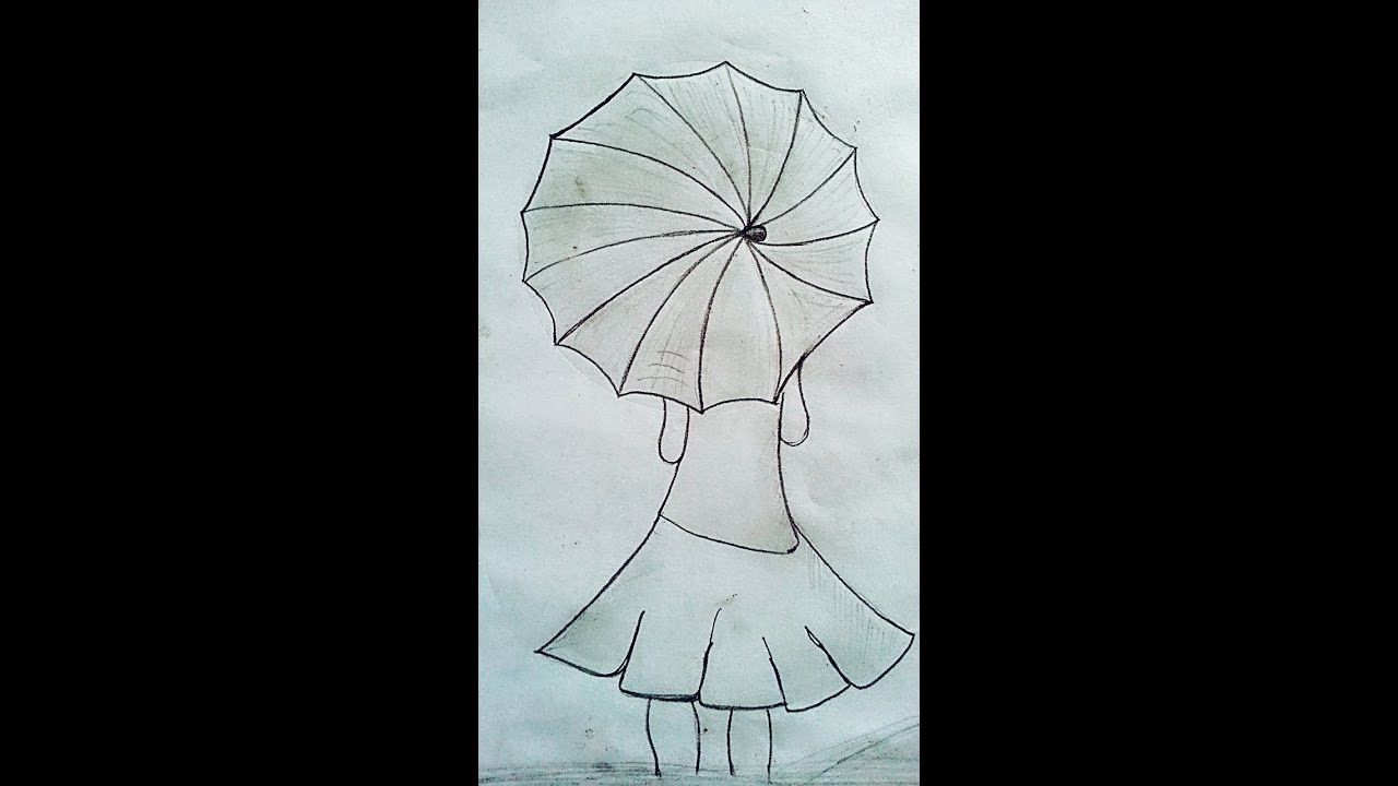 1280x720 How To Draw Girl With Umbrella Paintingdrawing