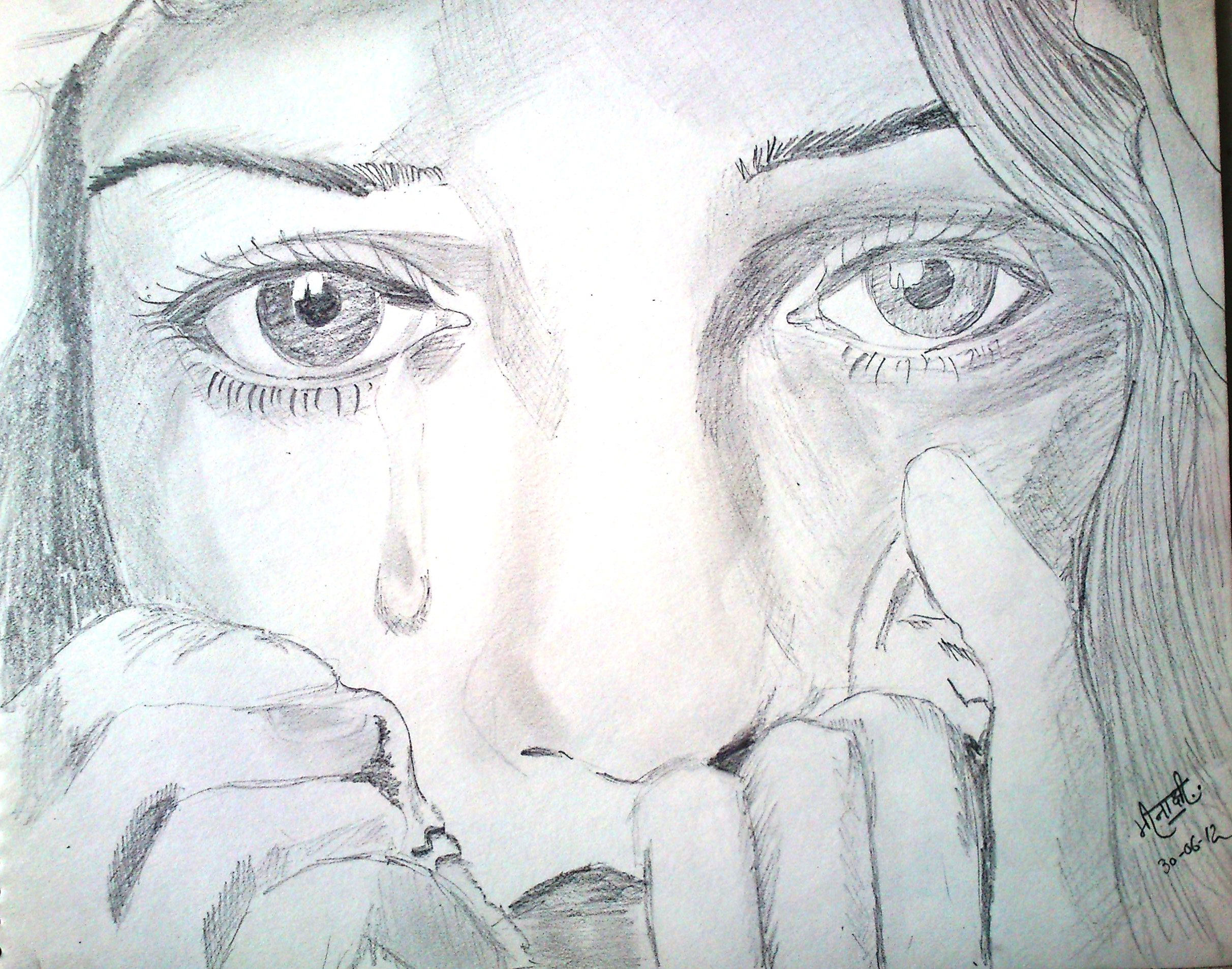 2424x1907 A Girl Crying Drawing Crying Realistic Art, Pencil Drawing Images